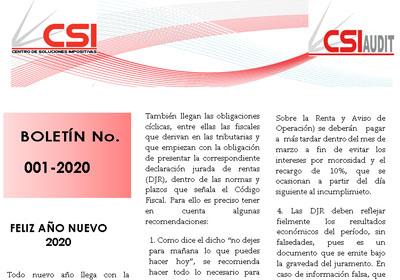 Boletín N° 001-2020