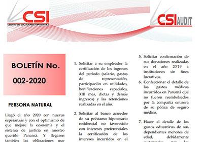 Boletín N° 002-2020