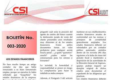 Boletín N° 003-2020