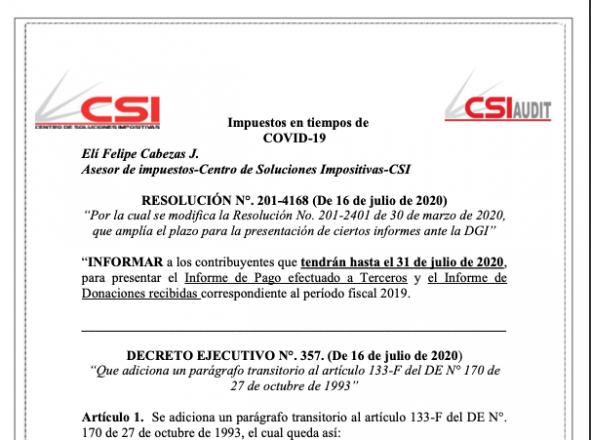 Impuestos en tiempo de COVID- RES. 201-4168