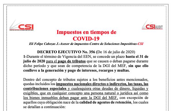 Impuestos en tiempo de COVID- Decreto No.356